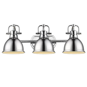 Golden Lighting Duncan 3 Light Bath Vanity in Chrome with Chrome Shades - 3602-BA3 CH-CH - 2
