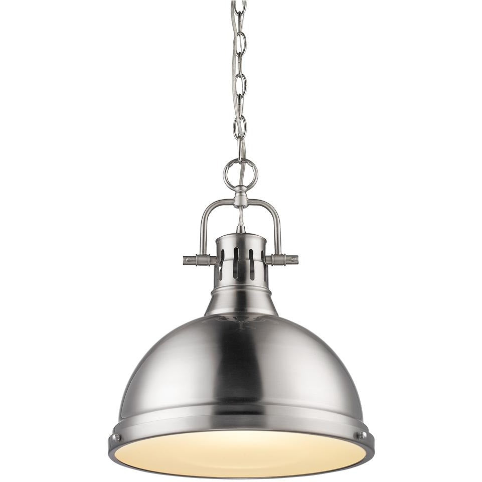 Golden Lighting Duncan 1 Light Pendant with Chain in Pewter with a Pewter Shade - 3602-L PW-PW - 1