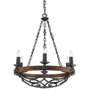 Golden Lighting Madera 6 Light Chandelier in Black Iron with - 1821-6 BI-Minimal & Modern