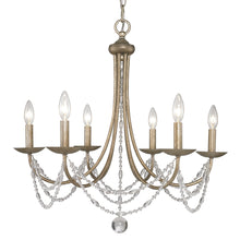 Golden Lighting Mirabella 6 Light Chandelier in Golden Aura with metal candlesticks - 7644-6 GA - 2