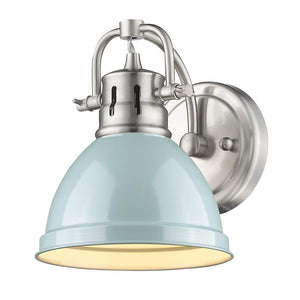 Golden Lighting Duncan 1 Light Bath Vanity in Pewter with a Seafoam Shade - 3602-BA1 PW-SF - 2