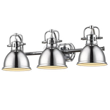 Golden Lighting Duncan 3 Light Bath Vanity in Chrome with Chrome Shades - 3602-BA3 CH-CH - 3
