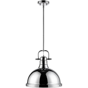 Golden Lighting Duncan 1 Light Pendant with Rod in Chrome with a Chrome Shade - 3604-L CH-CH - 1