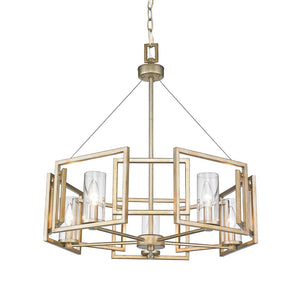 Golden Lighting Marco 5 Light Chandelier in White Gold with Clear Glass - 6068-5 WG - 2