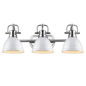 Golden Lighting Duncan 3 Light Bath Vanity in Chrome with White Shades - 3602-BA3 CH-WH - 3