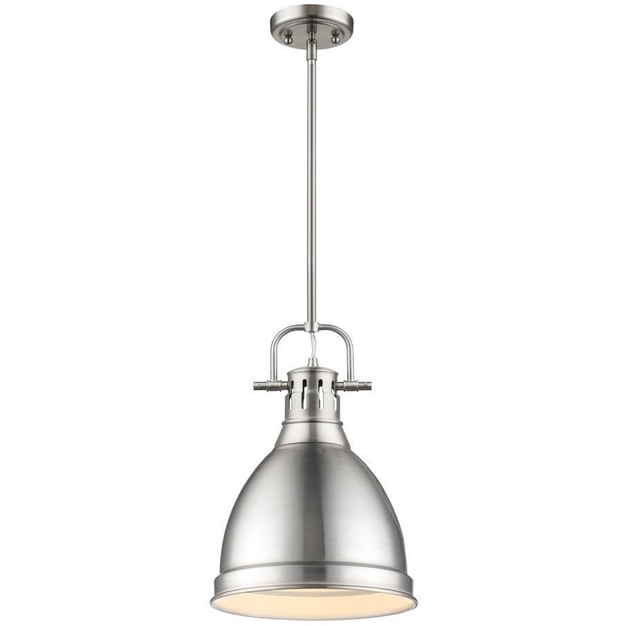 Golden Lighting Duncan Small Pendant with Rod in Pewter with a Pewter Shade - 3604-S PW-PW-Minimal & Modern