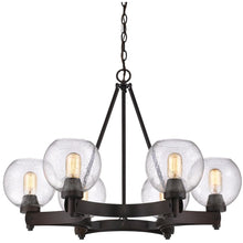 Golden Lighting Galveston 6 Light Chandelier in Rubbed Bronze with Seeded Glass - 4855-6 RBZ-SD - 1
