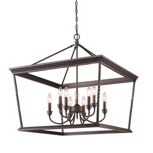 Golden Lighting Davenport 2 Tier - 9 Light Chandelier in Etruscan Bronze - 4214-9 EB - 3