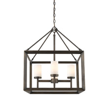 Golden Lighting Smyth 4 Light Chandelier in Gunmetal Bronze with Opal Glass - 2073-4 GMT-OP - 3