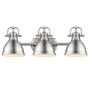 Golden Lighting Duncan 3 Light Bath Vanity in Pewter with Pewter Shades - 3602-BA3 PW-PW - 3