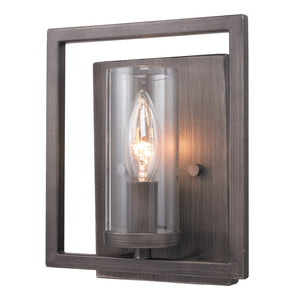 Golden Lighting Marco 1 Light Wall Sconce in Gunmetal Bronze with Clear Glass - 6068-1W GMT - 3