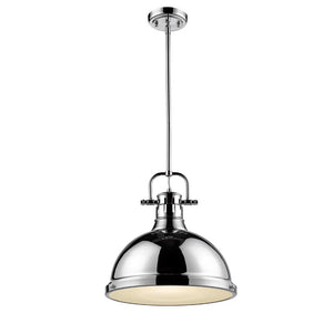 Golden Lighting Duncan 1 Light Pendant with Rod in Chrome with a Chrome Shade - 3604-L CH-CH - 2