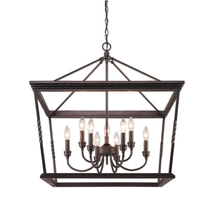 Golden Lighting Davenport 2 Tier - 9 Light Chandelier in Etruscan Bronze - 4214-9 EB - 2