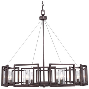 Golden Lighting Marco 8 Light Chandelier in Gunmetal Bronze with Clear Glass - 6068-8 GMT-Minimal & Modern