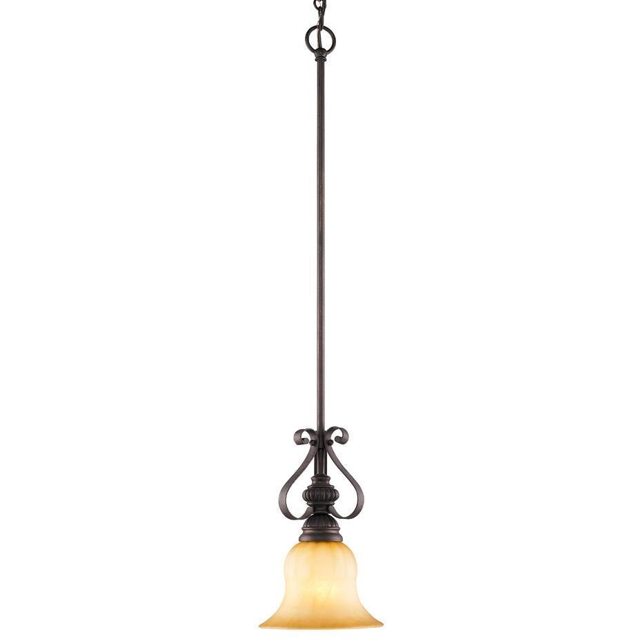 Golden Lighting Mayfair Mini Pendant in Leather Crackle with Crème Brulee Glass - 7116-M1L LC-Minimal & Modern