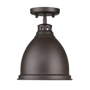 Golden Lighting Duncan Flush Mount in Rubbed Bronze with a Rubbed Bronze Shade - 3602-FM RBZ-RBZ-Minimal & Modern