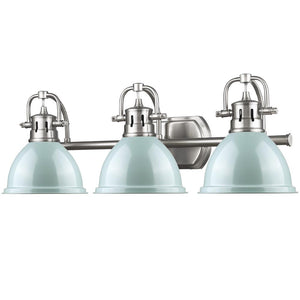 Golden Lighting Duncan 3 Light Bath Vanity in Pewter with Seafoam Shades - 3602-BA3 PW-SF - 3