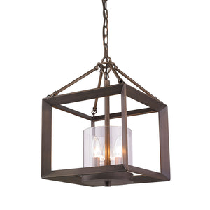 Golden Lighting Smyth Convertible Semi-Flush in Gunmetal Bronze with Clear Glass - 2073-SF GMT-Minimal & Modern