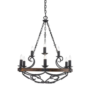 Golden Lighting Madera 2 Tier - 9 Light Chandelier in Black Iron with - 1821-9 BI - 3
