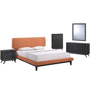 Modway Furniture Modern Bethany 5 Piece Queen Bedroom Set-Minimal & Modern