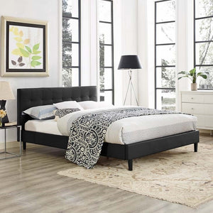 Modway Furniture Modern Linnea Full Faux Leather Bed-Minimal & Modern