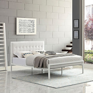 Modway Furniture Modern Millie Full Vinyl Bed In White White MOD-5453-WHI-WHI-Minimal & Modern