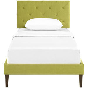 Modway Furniture Modern Terisa Twin Fabric Platform Bed with Squared Tapered Legs-Minimal & Modern