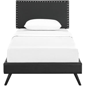 Modway Furniture Modern Phoebe Twin Vinyl Platform Bed with Round Splayed Legs-Minimal & Modern
