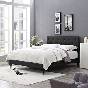 Modway Furniture Modern Terisa Queen Vinyl Platform Bed with Round Tapered Legs-Minimal & Modern
