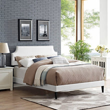 Modway Furniture Modern Laura Queen Vinyl Platform Bed with Squared Tapered Legs-Minimal & Modern