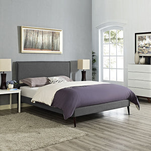 Modway Furniture Modern Camille Full Fabric Platform Bed with Round Tapered Legs-Minimal & Modern