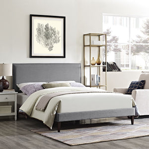 Modway Furniture Modern Camille King Fabric Platform Bed with Squared Tapered Legs-Minimal & Modern