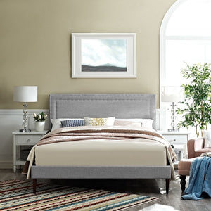 Modway Furniture Modern Jessamine Full Fabric Platform Bed with Round Tapered Legs-Minimal & Modern