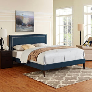 Modway Furniture Modern Jessamine Queen Fabric Platform Bed with Squared Tapered Legs-Minimal & Modern