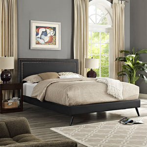 Modway Furniture Modern Jessamine King Vinyl Platform Bed with Round Splayed Legs-Minimal & Modern