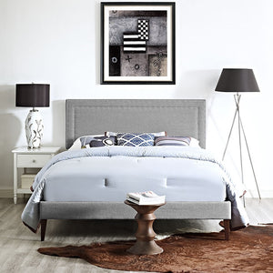 Modway Furniture Modern Jessamine King Fabric Platform Bed with Squared Tapered Legs-Minimal & Modern