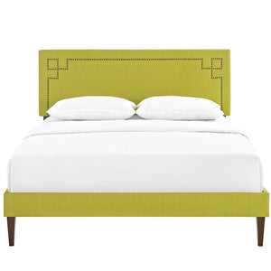 Modway Furniture Modern Josie Queen Fabric Platform Bed with Squared Tapered Legs-Minimal & Modern