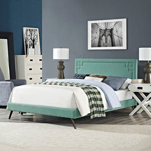 Modway Furniture Modern Josie King Fabric Platform Bed with Round Splayed Legs-Minimal & Modern