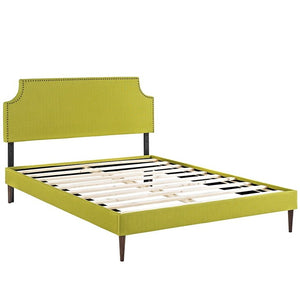 Modway Furniture Modern Laura Queen Fabric Platform Bed with Round Tapered Legs-Minimal & Modern