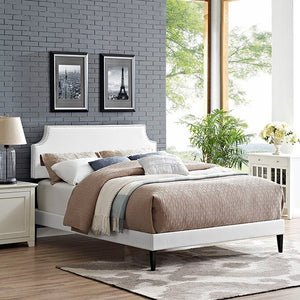 Modway Furniture Modern Laura King Vinyl Platform Bed with Squared Tapered Legs-Minimal & Modern