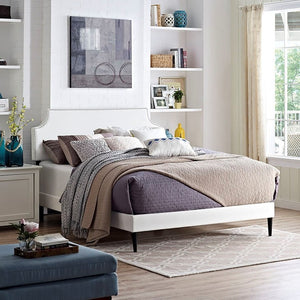 Modway Furniture Modern Laura King Vinyl Platform Bed with Round Tapered Legs-Minimal & Modern