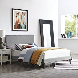 Modway Furniture Modern Phoebe Full Fabric Platform Bed with Squared Tapered Legs-Minimal & Modern