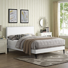 Modway Furniture Modern Phoebe Full Vinyl Platform Bed with Round Tapered Legs-Minimal & Modern