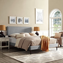 Modway Furniture Modern Phoebe King Fabric Platform Bed with Round Tapered Legs-Minimal & Modern