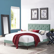 Modway Furniture Modern Terisa Queen Fabric Platform Bed with Round Tapered Legs-Minimal & Modern