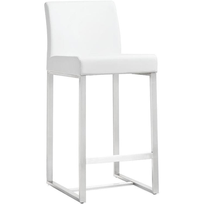 TOV Furniture Modern Denmark White Stainless Steel Barstool (Set of 2) TOV-K3637-Minimal & Modern