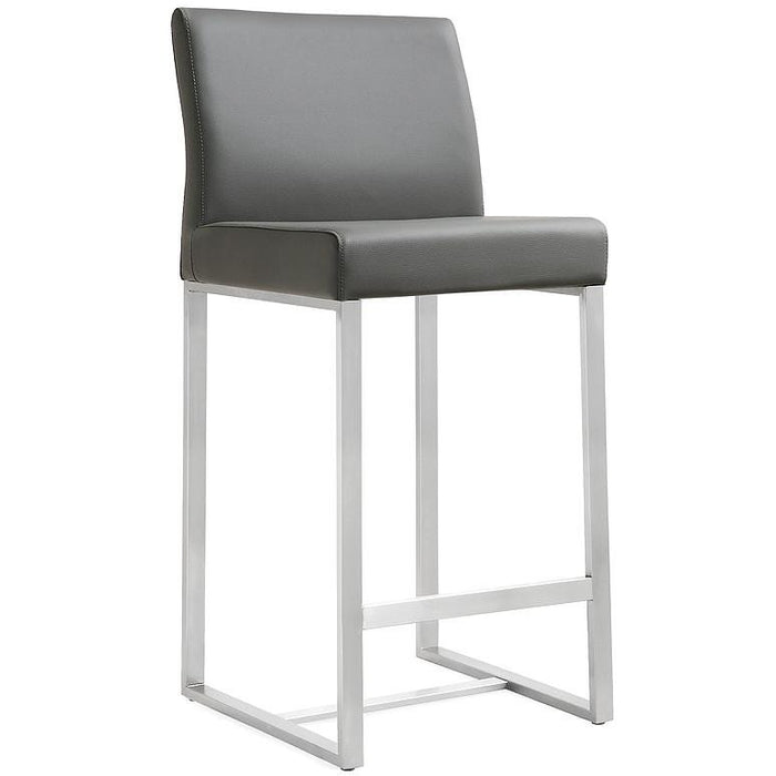 TOV Furniture Modern Denmark Grey Stainless Steel Barstool (Set of 2) TOV-K3638-Minimal & Modern