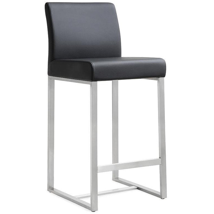 TOV Furniture Modern Denmark Black Stainless Steel Barstool (Set of 2) TOV-K3636-Minimal & Modern