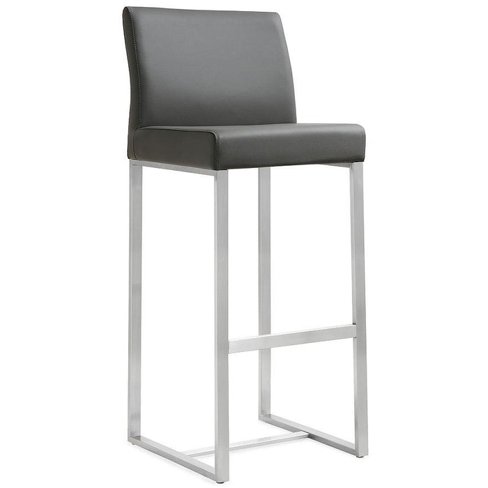 TOV Furniture Modern Denmark Grey Stainless Steel Counter Stool (Set of 2) TOV-K3635-Minimal & Modern