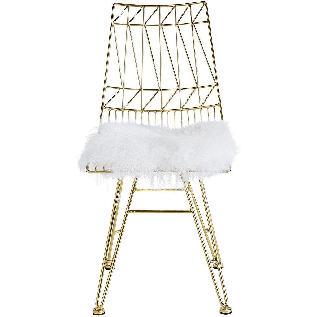 TOV Furniture Modern Allure Gold Steel Chair With White Sheepskin Seat Set  Of 2 TOV